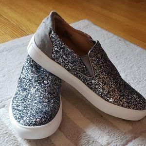 Silver Glitter Steve Madden Sneakers - women's 6.5